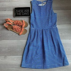 J Crew factory white & blue dress with zip back.